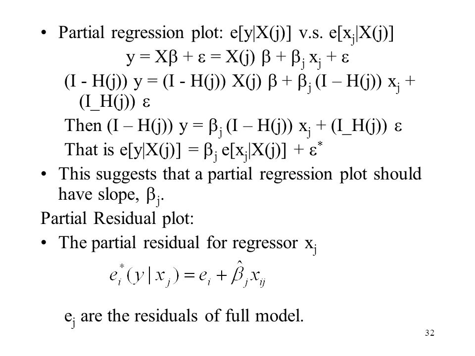 Partial regression plot: e[y|X(j)] v.s. e[xj|X(j)]
